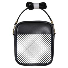 Simple Pattern Waves Plaid Black White Girls Sling Bags by Mariart