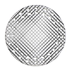 Simple Pattern Waves Plaid Black White Ornament (round Filigree) by Mariart