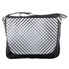 Simple Pattern Waves Plaid Black White Messenger Bags by Mariart
