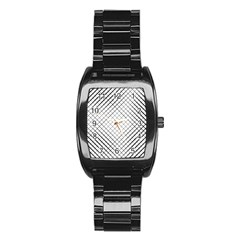 Simple Pattern Waves Plaid Black White Stainless Steel Barrel Watch by Mariart