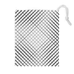 Simple Pattern Waves Plaid Black White Drawstring Pouches (extra Large) by Mariart
