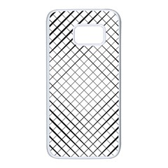 Simple Pattern Waves Plaid Black White Samsung Galaxy S7 White Seamless Case by Mariart