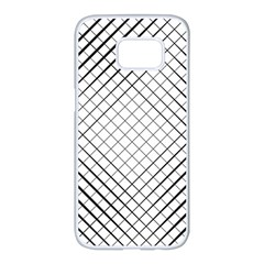 Simple Pattern Waves Plaid Black White Samsung Galaxy S7 Edge White Seamless Case by Mariart