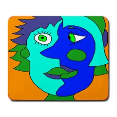 Visual Face Blue Orange Green Mask Large Mousepads by Mariart