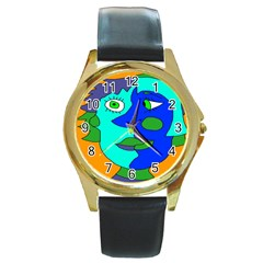 Visual Face Blue Orange Green Mask Round Gold Metal Watch by Mariart