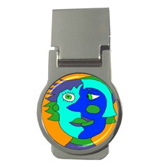 Visual Face Blue Orange Green Mask Money Clips (round)  by Mariart