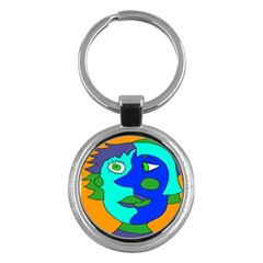 Visual Face Blue Orange Green Mask Key Chains (round)  by Mariart