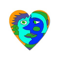 Visual Face Blue Orange Green Mask Heart Magnet by Mariart