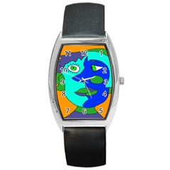 Visual Face Blue Orange Green Mask Barrel Style Metal Watch by Mariart
