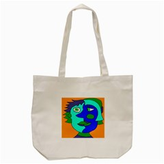 Visual Face Blue Orange Green Mask Tote Bag (cream) by Mariart