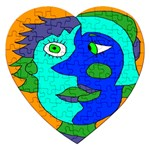 Visual Face Blue Orange Green Mask Jigsaw Puzzle (Heart) Front