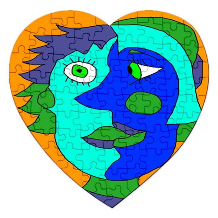 Visual Face Blue Orange Green Mask Jigsaw Puzzle (Heart)