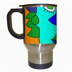 Visual Face Blue Orange Green Mask Travel Mugs (white) by Mariart