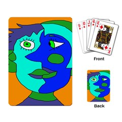 Visual Face Blue Orange Green Mask Playing Card by Mariart