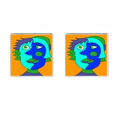 Visual Face Blue Orange Green Mask Cufflinks (square) by Mariart