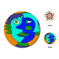 Visual Face Blue Orange Green Mask Playing Cards (round)  by Mariart