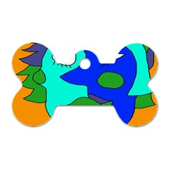 Visual Face Blue Orange Green Mask Dog Tag Bone (one Side) by Mariart