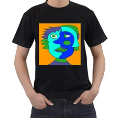 Visual Face Blue Orange Green Mask Men s T Shirt (black) by Mariart