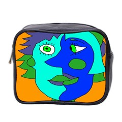 Visual Face Blue Orange Green Mask Mini Toiletries Bag 2 Side by Mariart