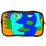 Visual Face Blue Orange Green Mask Toiletries Bags 2-Side Front
