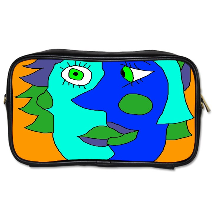 Visual Face Blue Orange Green Mask Toiletries Bags 2-Side