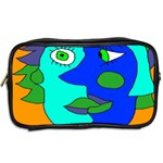 Visual Face Blue Orange Green Mask Toiletries Bags 2-Side Back