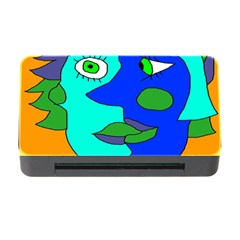 Visual Face Blue Orange Green Mask Memory Card Reader With Cf by Mariart