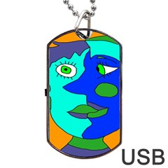 Visual Face Blue Orange Green Mask Dog Tag Usb Flash (one Side) by Mariart