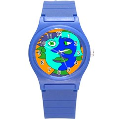 Visual Face Blue Orange Green Mask Round Plastic Sport Watch (s) by Mariart