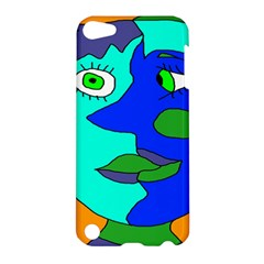 Visual Face Blue Orange Green Mask Apple Ipod Touch 5 Hardshell Case by Mariart