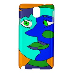 Visual Face Blue Orange Green Mask Samsung Galaxy Note 3 N9005 Hardshell Case by Mariart