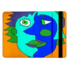 Visual Face Blue Orange Green Mask Samsung Galaxy Tab Pro 12 2  Flip Case by Mariart