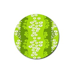 Sunflower Green Rubber Round Coaster (4 Pack)  by Mariart