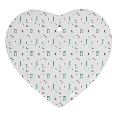 White Triangle Wave Waves Chevron Polka Circle Ornament (heart) by Mariart