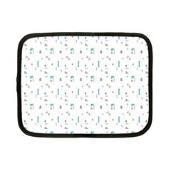 White Triangle Wave Waves Chevron Polka Circle Netbook Case (small)  by Mariart