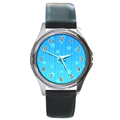 Star Blue Sky Space Line Vertical Light Round Metal Watch