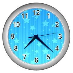 Star Blue Sky Space Line Vertical Light Wall Clocks (silver)  by Mariart