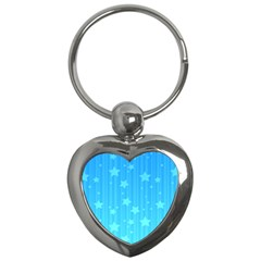 Star Blue Sky Space Line Vertical Light Key Chains (heart)  by Mariart