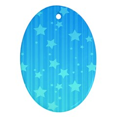 Star Blue Sky Space Line Vertical Light Oval Ornament (two Sides) by Mariart