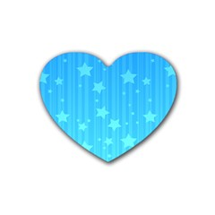 Star Blue Sky Space Line Vertical Light Rubber Coaster (heart)  by Mariart