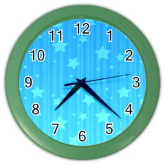 Star Blue Sky Space Line Vertical Light Color Wall Clocks by Mariart