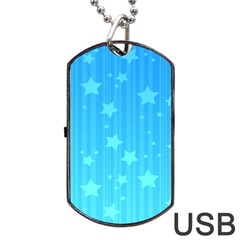 Star Blue Sky Space Line Vertical Light Dog Tag Usb Flash (two Sides) by Mariart