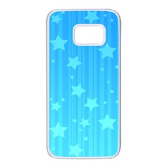 Star Blue Sky Space Line Vertical Light Samsung Galaxy S7 White Seamless Case