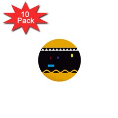 Bright Polka Wave Chevron Yellow Black 1  Mini Buttons (10 Pack)