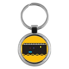 Bright Polka Wave Chevron Yellow Black Key Chains (round)  by Mariart