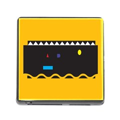 Bright Polka Wave Chevron Yellow Black Memory Card Reader (square) by Mariart
