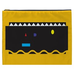Bright Polka Wave Chevron Yellow Black Cosmetic Bag (xxxl)  by Mariart