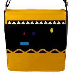Bright Polka Wave Chevron Yellow Black Flap Messenger Bag (s) by Mariart