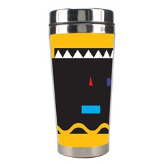 Bright Polka Wave Chevron Yellow Black Stainless Steel Travel Tumblers by Mariart