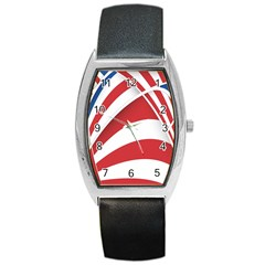 American Flag Star Blue Line Red White Barrel Style Metal Watch by Mariart